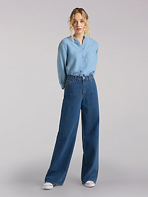 Women's Lee European Collection High Rise A Line Wide Leg Jean
