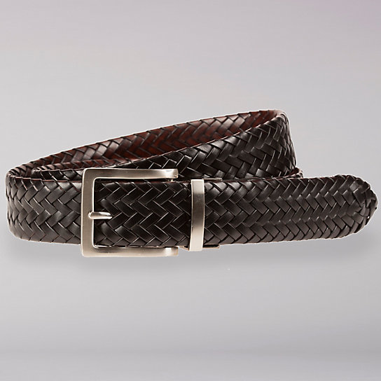 Reversible Braided Leather Belt - Men