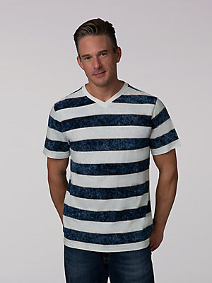 Men's Indigo Jaquard Short Sleeve V-Neck Shirt