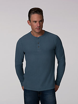 Men's Polar Fleece Long Sleeve Henley Shirt