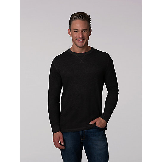 Men's Heathered Thermal Long Sleeve Crew Shirt