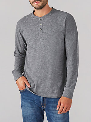 Men's Long Sleeve Heather Slub Henley Shirt