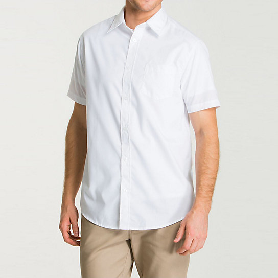 Short Sleeve Point Collar Poplin Shirt - Uniforms