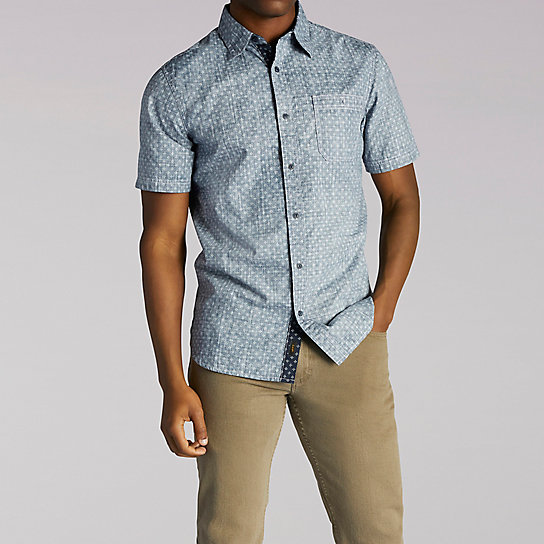 Short Sleeve Glen Print Button Front Shirt