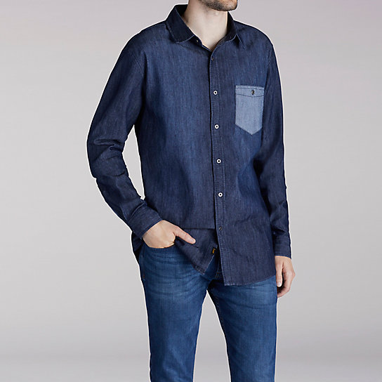 Long Sleeve Stretch Denim Shirt