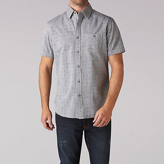 Short Sleeve Printed Chambray
