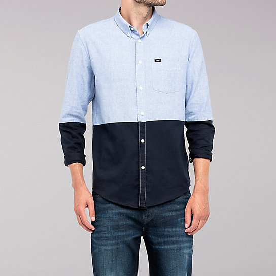 Lee European Collection - Color Block Shirt - Dusty Blue