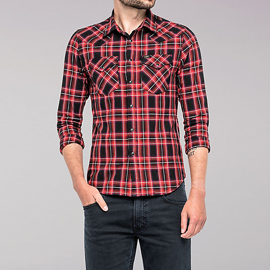 Lee European Collection - Western Plaid Shirt - Bright Red
