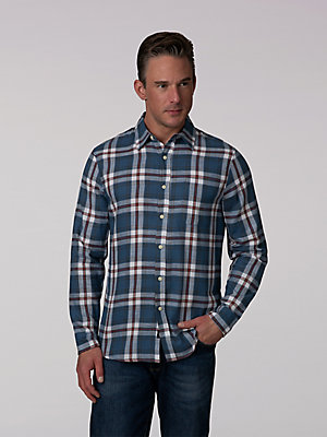 Men's Ombre Slub Plaid Button Down Shirt