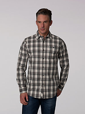 Men's One Pocket Cross Dyed Button Down Shirt