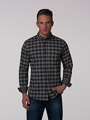 Men's Heathered Gingham Button Down Shirt