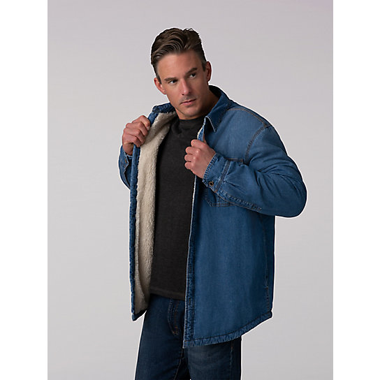 Denim Sherpa Lined Shirt Jacket