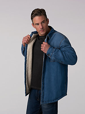 Men's Denim Sherpa Lined Shirt Jacket