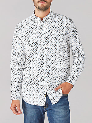 Men's Bird Print Stretch Button Down Shirt