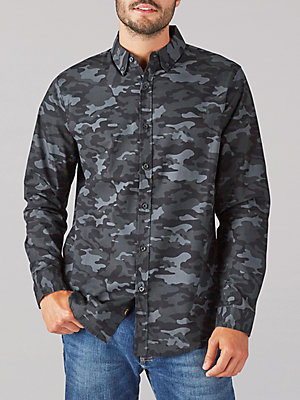 Men's Camo Print Stretch Button Down Shirt