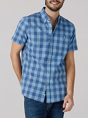 Men's Gingham Short Sleeve Button Down Shirt