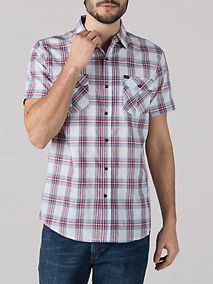 Men's Plaid Short Sleeve Button Down Shirt
