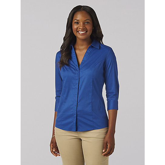 Lee Riders 3/4 Sleeve Easy Care Button Front Shirt