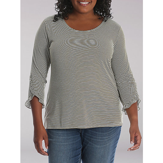 Lee Riders 3/4 Sleeve Stripe Knit Top with Ruffle Trim Sleeves - Plus