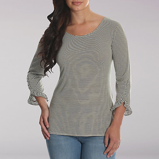 Lee Riders 3/4 Sleeve Stripe Knit Top with Ruffle Trim Sleeves