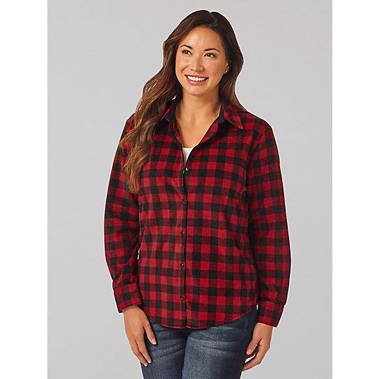 Lee Riders Long Sleeve Mini Checkered Fleece Lined Flannel Shirt