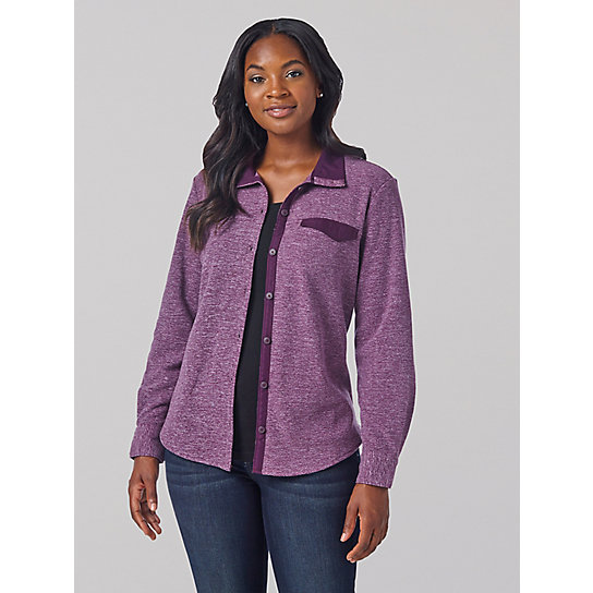Women's Lee Riders Long Sleeve Heathered Fleece Lined Flannel Shirt