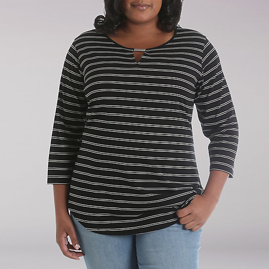 Riders by Lee® Darla 3/4 Sleeve Keyhole Stripe - Plus