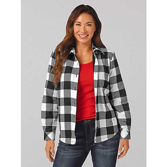 Women's Lee Riders Long Sleeve Checkered Fleece Lined Flannel Shirt