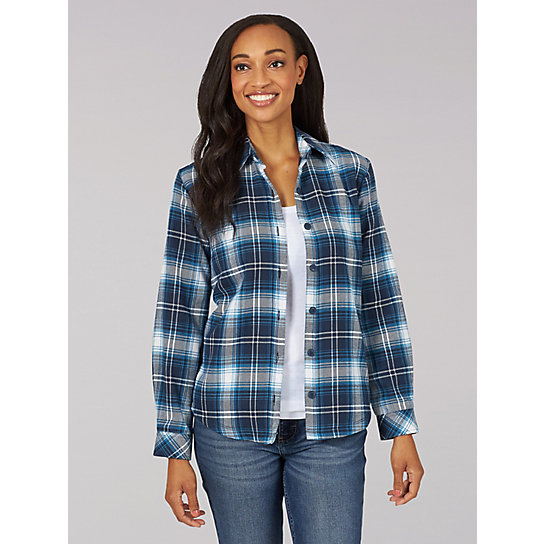 Lee Riders Long Sleeve Plaid Fleece Lined Flannel Shirt