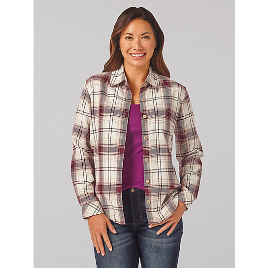 Lee Riders Long Sleeve Plaid Fleece Lined Flannel Shirt - Plus