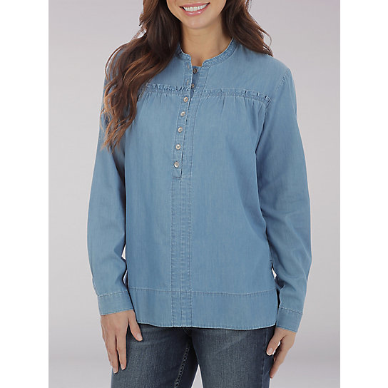 Lee Riders Long Sleeve Button Front shirt with Ruffle Yoke