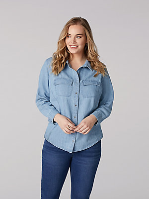 Women's Lee Riders Shape Illusions Button Front Denim Shirt (Plus)