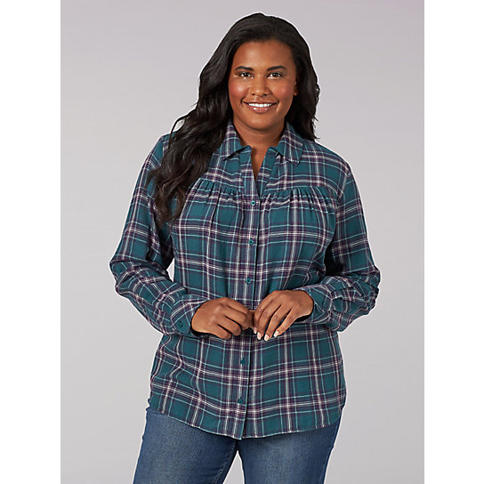 Lee Riders Long Sleeve Button Front Plaid Shirt with Shirred Yoke - Plus