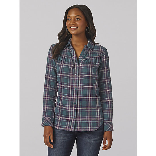 Lee Riders Long Sleeve Button Front Plaid Shirt with Shirred Yoke