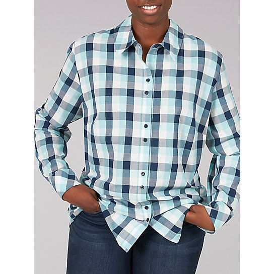 Lee Riders Long Sleeve Plaid Button Front Shirt