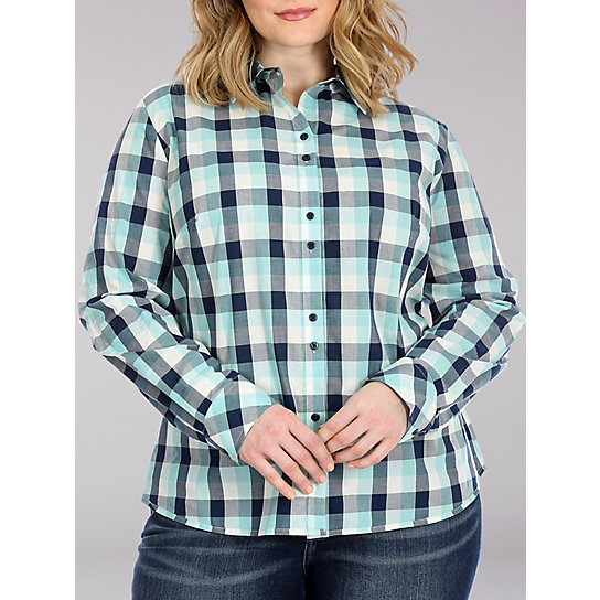 Lee Riders Long Sleeve Plaid Button Front Shirt - Plus