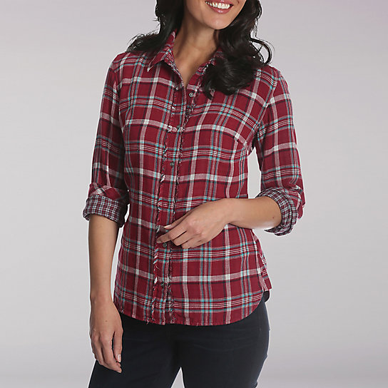 Lee Riders Long Sleeve Plaid Shirt with Frayed Trim Placket