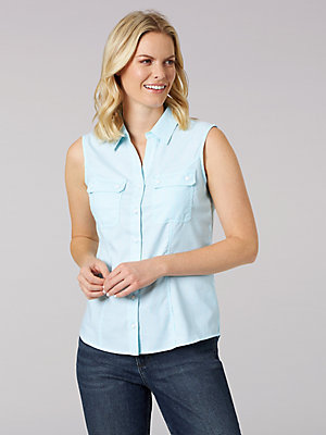 Women's Lee Riders Sleeveless Button Front Shirt