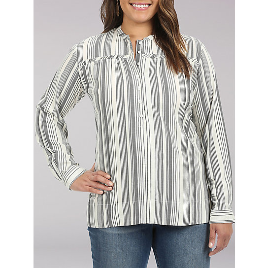 Lee Riders Long Sleeve Button Front shirt with Ruffle Yoke - Plus