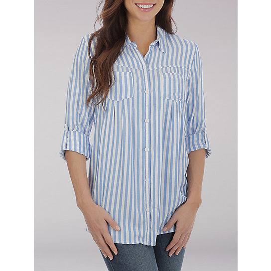 Lee Riders Long Sleeve Stripe Pleated Button Front Shirt