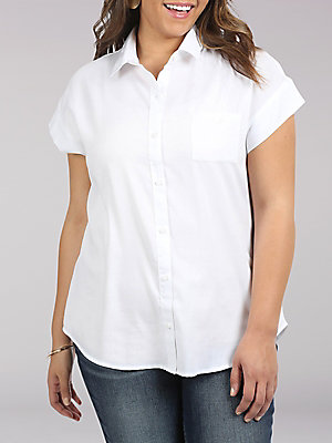 Women's Lee Riders Short Sleeve Button front shirt with Chest Pocket (Plus)