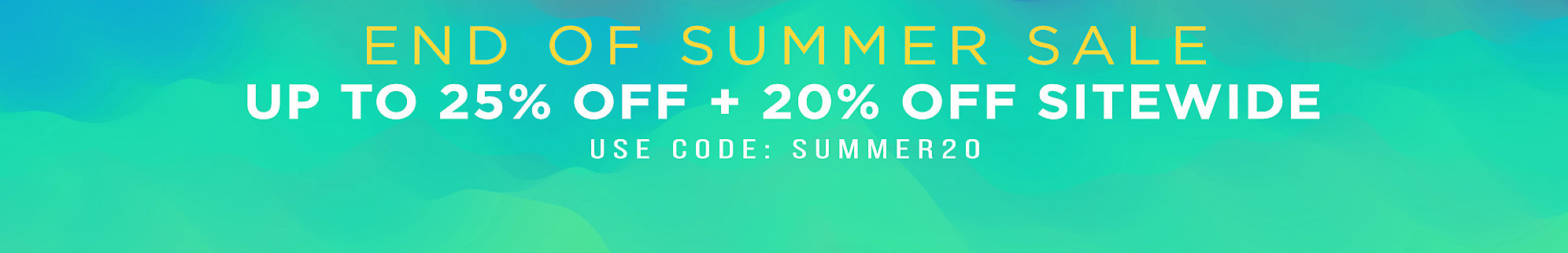 20% Off Sitewide with Code SUMMER20